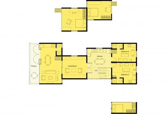 The 4th floor has a large living room that could be shared or partially shared...