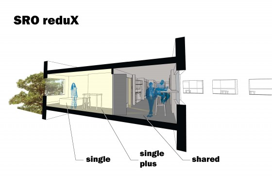 The SRO Redux: section through private, private plus, and shared space