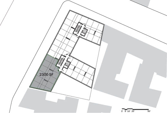 The Flux: overall floor plan with a possible 2,300 sf unit
