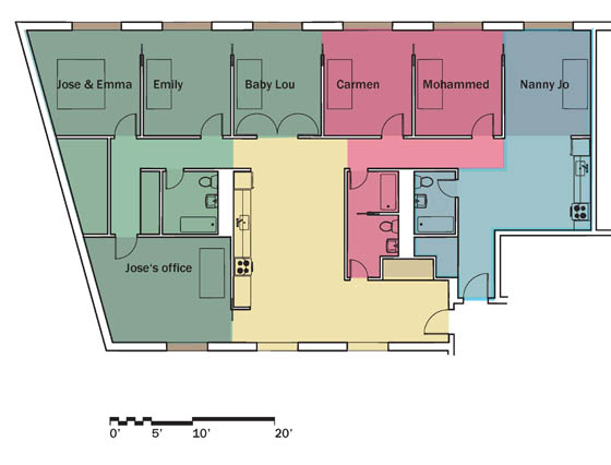 The Flux: possible layout of a 2,300 sf unit